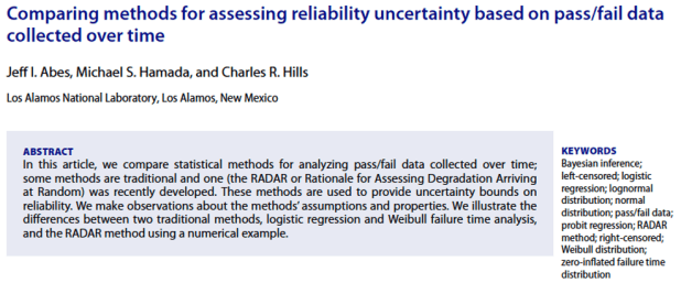 ASQ RELIABILITY & RISK DIVISION BEST RELIABILITY PAPER AWARD