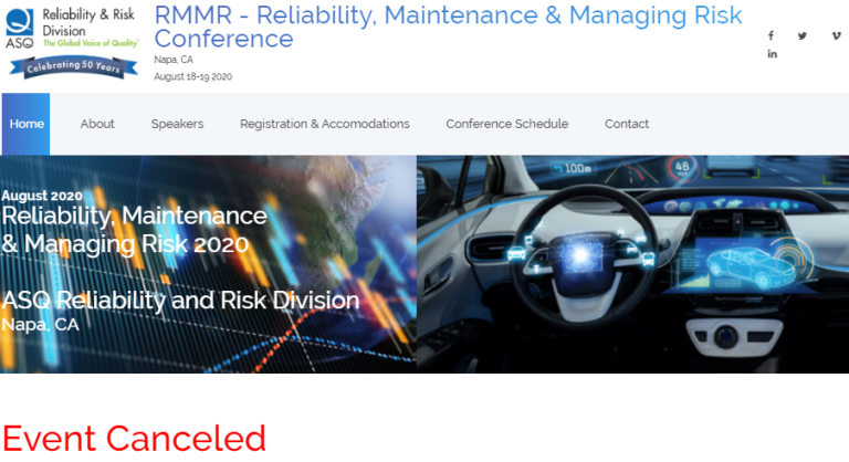 CANCELED RELIABILITY, MAINTENANCE & MANAGING RISK 2020